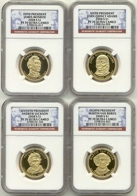 2008 S Presidential Dollar 4 Coin Proof Set NGC PF70 Ultra Cameo UC PR70 $1