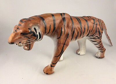 Leather Wrapped Bengal Tiger Figure Statue