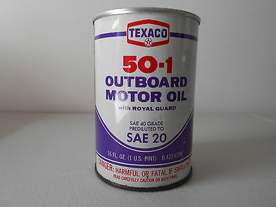 Vintage 1 Pint Texaco Outboard Motor Oil Can 50-1 W/ Royal Guard  Unopened
