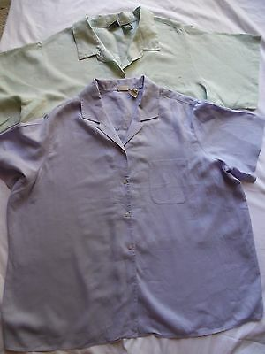 lot of 2 womens L.L.Bean button front 100% linen green & purple plus sz 2X shirt