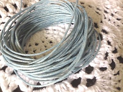 Waxed Cotton Cord 5 Metres Light Blue 1 Mm Thick DIY Necklace Jewellery