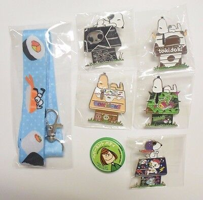 SDCC 2017 Exclusive Tokidoki x Snoopy Pins Completed Set Of 5, Lanyard & Extra