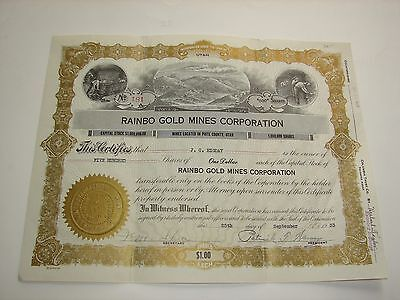 1933 Rainbo Gold Mines Corporation Stock Certificate Piute County Utah Vintage