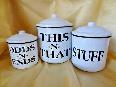 """Set of 3 Fun Metal Canisters with Lids """"This N That"""", """"Stuff"""" and """"Odds & Ends"""""""