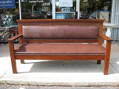 Antique Oak Railroad Bench at Raleigh Furniture Gallery