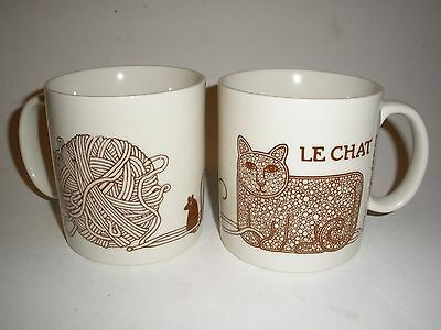 2 LE CHAT Cat and Yarn Mug Signed TAYLOR & NG  JAPAN  Lot of 2