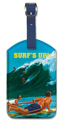 Leatherette Travel Luggage Tag Baggage Label - Surf's Up by Chas Allen