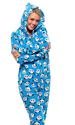 Unisex Panda Bears Fleece Footed Pajamas - Adult Sized Blue Footie Hooded PJ