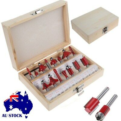 15pcs Router Bit Set Kit Shank Tungsten Carbide Rotary Repair Tool Wood Case Box