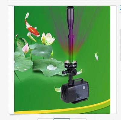 Fish pond Fountain Pump w/3 Colors LED Lights 2000LPH Submersible Pump only 220v