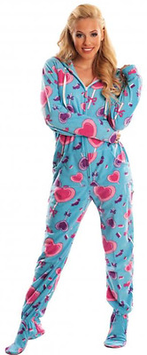 Unisex Ultra Soft Blue & Pink Lollipops Candy Adult Sized Footed Hoodie Pajamas