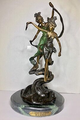 Bronze Statue Used La Danes Des Nymphes By Moreau on a Marble Base Reproduction