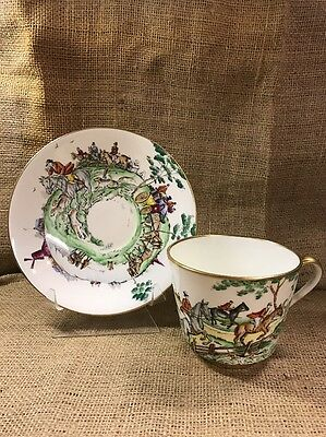 VTg Hammersley Hunting Scene Dog Fox Horse Carriage Oversized Tea Cup Saucer