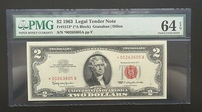 $2 Series 1963 Us Note/ Star Note/ Pmg 64Epq Choice Unc/ 1 Of 12 Consecutive/ #5