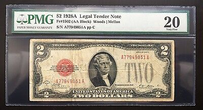 $2 Series 1928A United States Note / Pmg 20 Very Fine
