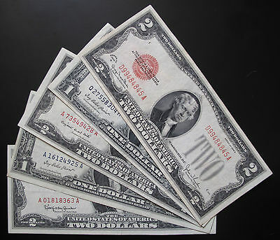 MIX LOT OF 5 x $1 & $2 US NOTES & SILVER CERTIFICATES XF / AU #A21