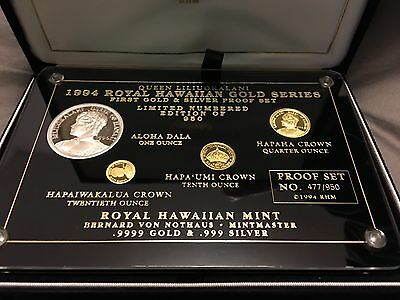 RARE. Gold & silver proof set. Royal Hawaiian Mint 1994 Queen Liliuokalani w/COA