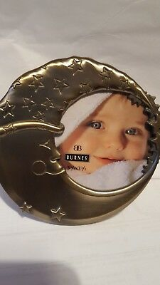Burnes of Boston  CRESCENT MOON Face W/Stars Baby PICTURE FRAME  Pewter Color