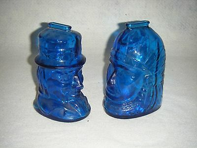 Lot of 2 - Vintage WHEATON GLASS CO. Cobalt Blue Coin Banks