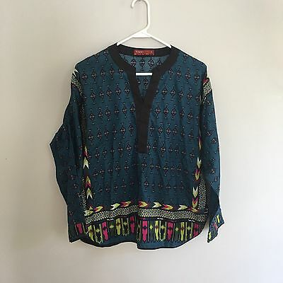 Khaadi Pret 100% Printed Shirt Indian Pakistan Colorful Bright Size 12