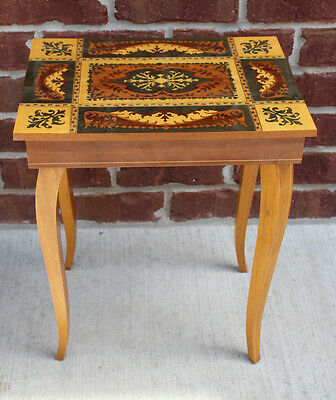 Vntg Italian Marquetry Table Music Box Jewelry Inlaid Dr. Zhivago Somewhere