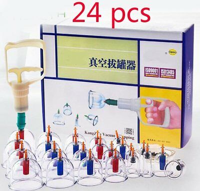 Medical Chinese Cupping 24 cups Magnet Massage Vacuum Therapy Set Healthy LN