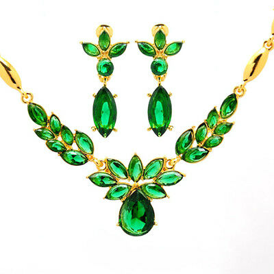 WELL Women Gold Plated Zircon Crystal Wedding Jewelry Sets Necklace Earrings Set