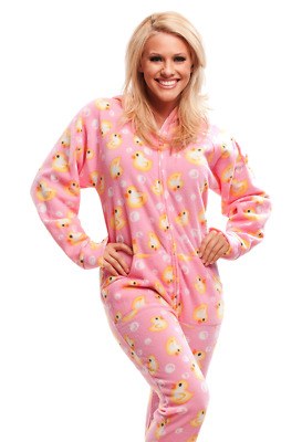 Unisex Soft Pink & Yellow Ducks Polar Fleece Adult Sized Footed Hoodie Pajamas