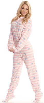Pink Stripes & Blue Elephants Unisex Snap Closure Adult Sized Footed Pajamas