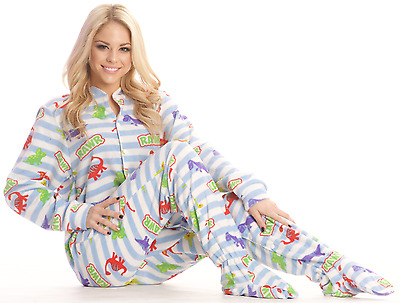 Unisex Ultra Soft Blue Dinosaurs Striped Polar Fleece Adult Sized Footed Pajamas