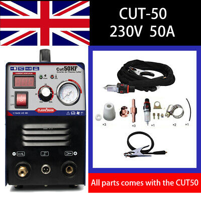 50 AMP 14mm Cut HF Start Air Plasma Cutter, Everything Included With Consumables
