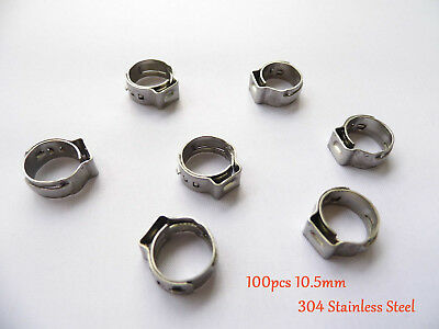 "100 x10.5mm 2/5"" PEX Stainles Steel Ear Clamp Cinch Rings Crimp Pinch Fitting"