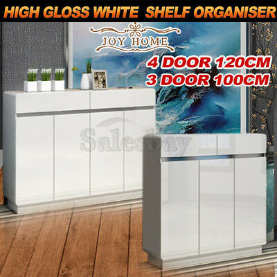 High Gloss White Wooden Extra Large Storage Shoe Cabinet Rack Shelf Organiser