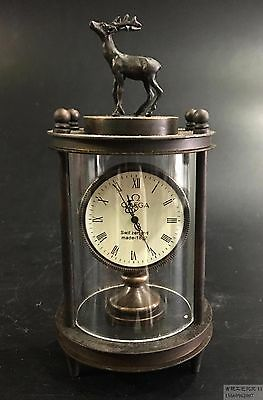 Asian collection of old handmade copper carved deer mechanical watch x1