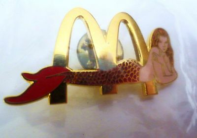 Set of 2 McDonald's Golden Arches Goldtone & Enamel Mermaid Lapel Hat Tack Pin