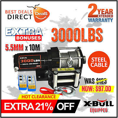 NEW X-BULL Wireless 3000LBS/1360KG 12V Electric Steel Cable Winch Boat ATV 4WD