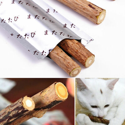 Cat Cleaning Teeth Pure Natural Catnip Stick Silvervine Tasty Snacks Treat Toys