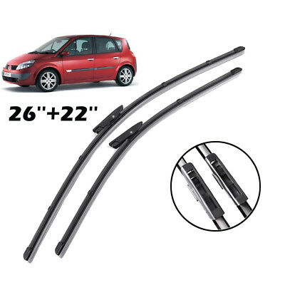 Pair of Front Windscreen Flat Wiper Blades Fit For Renault Scenic MK2 /Grand