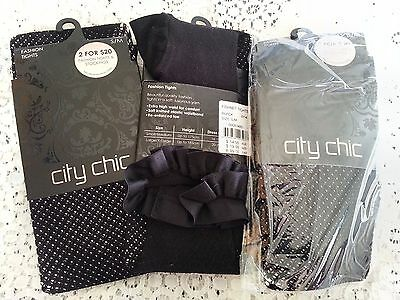 BULK LOT 3 pair womens CITY CHIC S M 16 18 FISHNET TIGHTS Pantyhose NEW