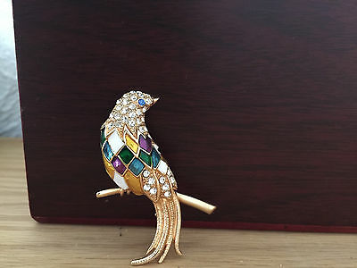 Carven Paris Brosche Vogel Emaille Strass Luxus Schmuck