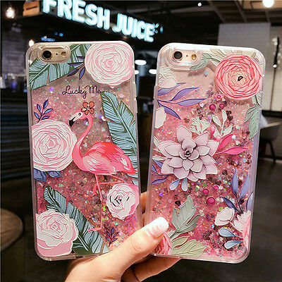 For iPhone 8 X 6s 7 Plus 3D Flamingo Liquid Glitter Latest Design Clear Case