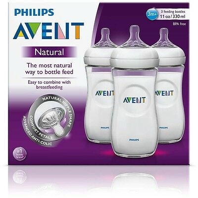 NEW Philips Avent BPA Free Natural Baby Bottles 11oz  3 Pack, Made in USA