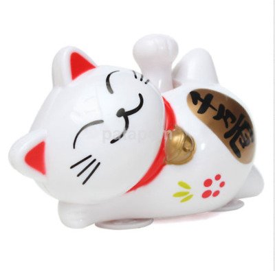 New Japanese Beckoning Fortune Cat Solar Power Car Lucky Cat Car Decor US