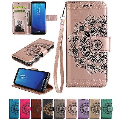 Luxury PU Leather Wallet Case Flower Magnetic Flip Cover For Samsung Galaxy