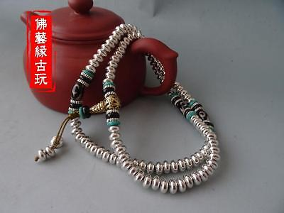 Collection of white copper and silver ornaments decorated beads agate bracelet