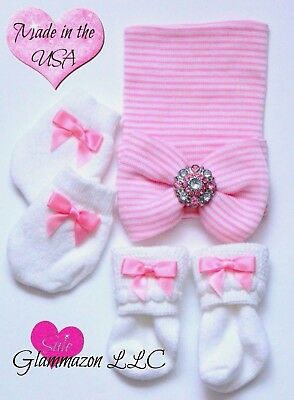 Newborn Girl Pink and White Striped Beanie coming home outfit with Socks Mitts
