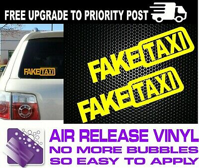 2x FAKE TAXI Sticker Decals Funny JDM Drift Turbo Hoon Race Car 15 COLORS