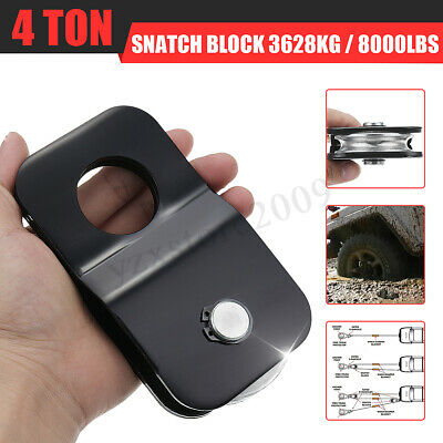 Winch Snatch Block Pulley Off Road-Recovery Heavy Duty 4 Ton Tonne Black 4x4