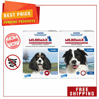 Milbemax Allwormer Dog worm treatment 2 Tablets for Small and Large Dogs
