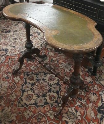 Antique Victorian kidney shaped leather topped writing table desk